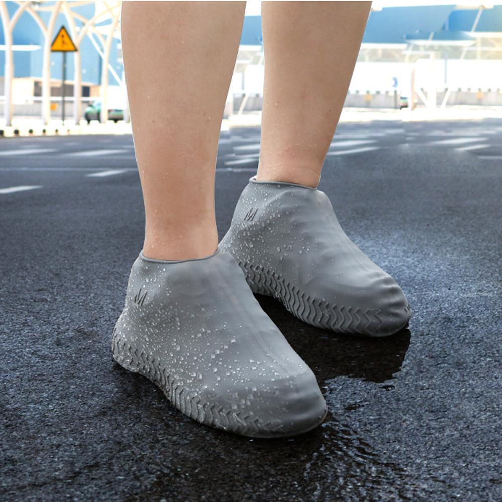 Unisexe élastique souple Bottes de pluie Couvre-chaussures antidérapants antipluie Couvre-chaussures réutilisable lavable pluie silicone chaussures imperméables couverture