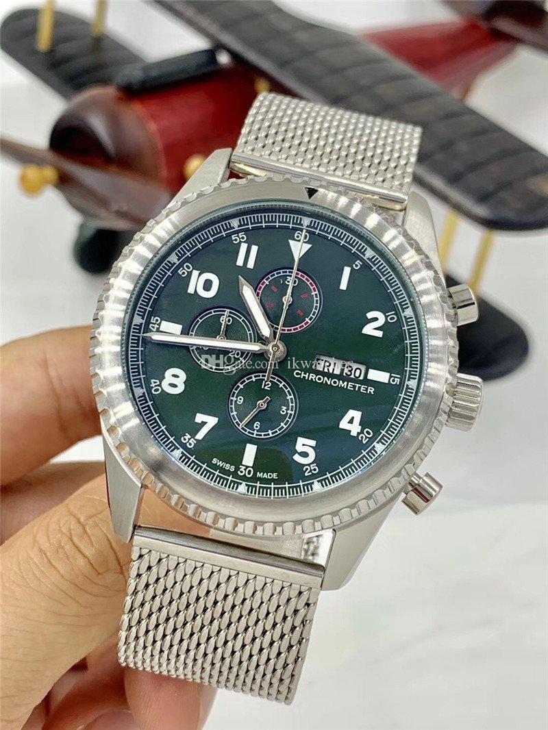 envío libre de los recién llegados cronómetro de cuarzo reloj de lujo de acero inoxidable relojes hombre de línea verde del reloj del reloj de lujo 263