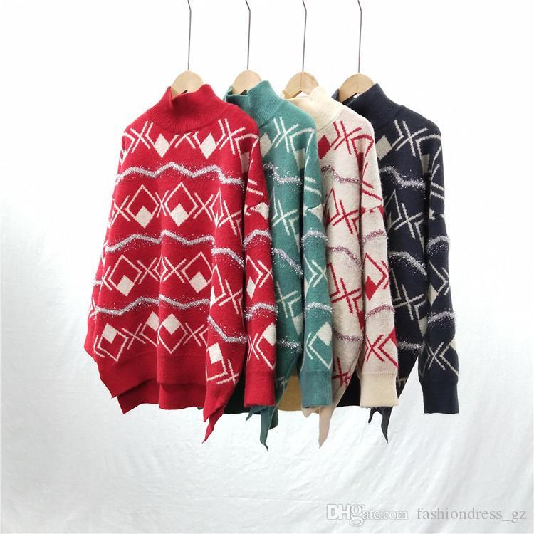 Femmes Vintage Pull Couleur Contraste De Noël Automne Hiver Chaud À Manches Longues Col Haut Taille Libre Pull Femmes Pull