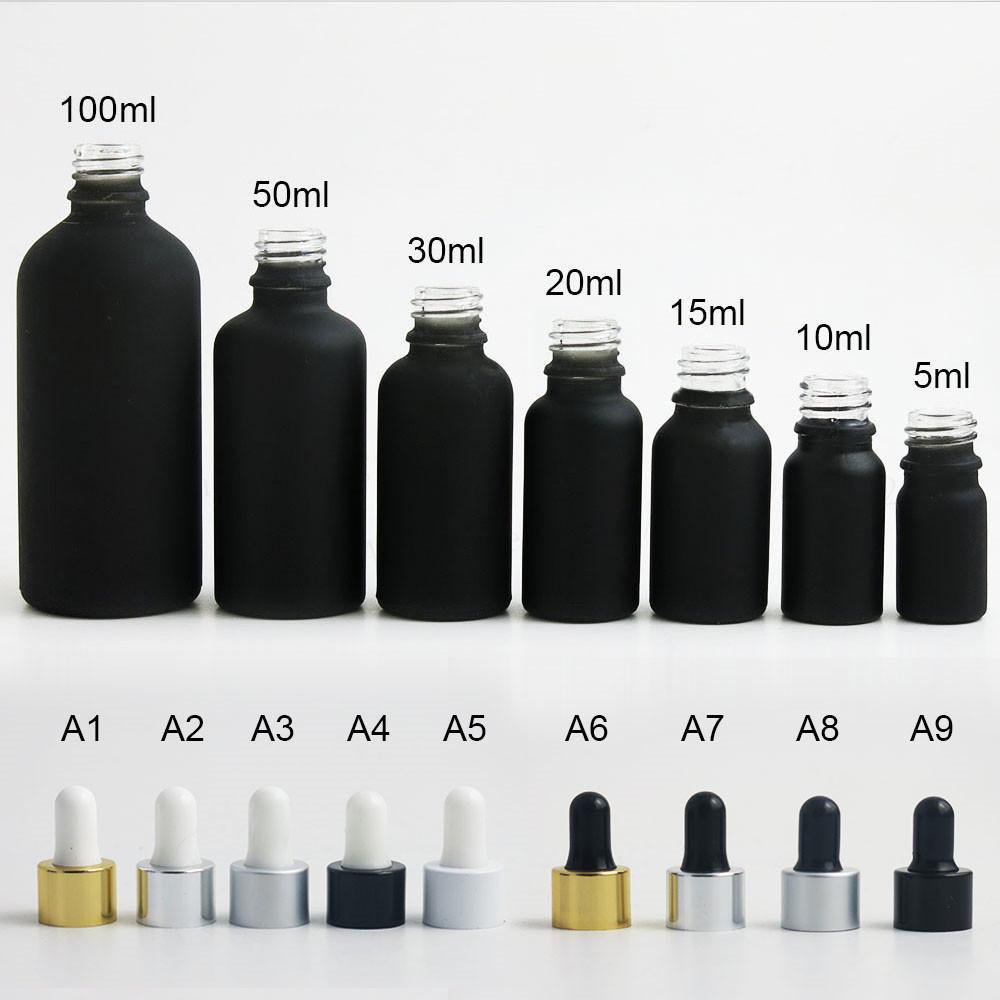 12 × 100ML 50ML 30ML 20ML 15ML 10ML 5ML الصقيع الزجاج الأسود الأساسية زجاجة قطارة النفط انخفاض الضروري قارورة حاويات