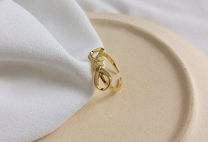 Оптово-ш S925 ювелирные изделия стерлингового серебра лук открытие регулируемые кольца мода завязывают стиль кольцо женский личности аксессуары ювелирных изделий