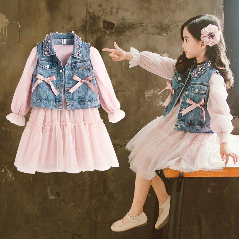 2019 primavera bambino delle ragazze dei capretti copre gli insiemi di perle denim vest + tutu vestiti vestito delle ragazze dei bambini vestiti compleanno principessa imposta CJ191205