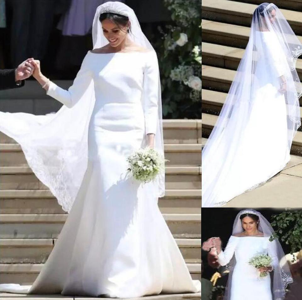 Meghan Markle белые свадебные платья Bateau 3/4 с длинным рукавом развертки поезда простые садовые часовня свадебные платья Vestido de Novia