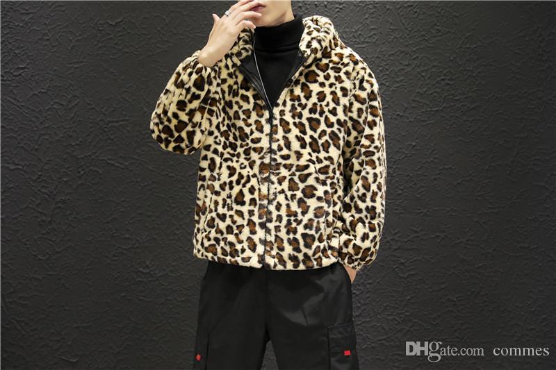 Piel de leopardo para hombre del diseñador de moda las chaquetas para hombre caliente con paneles de cremallera chaquetas con capucha de varones ocasional del bolsillo de la ropa
