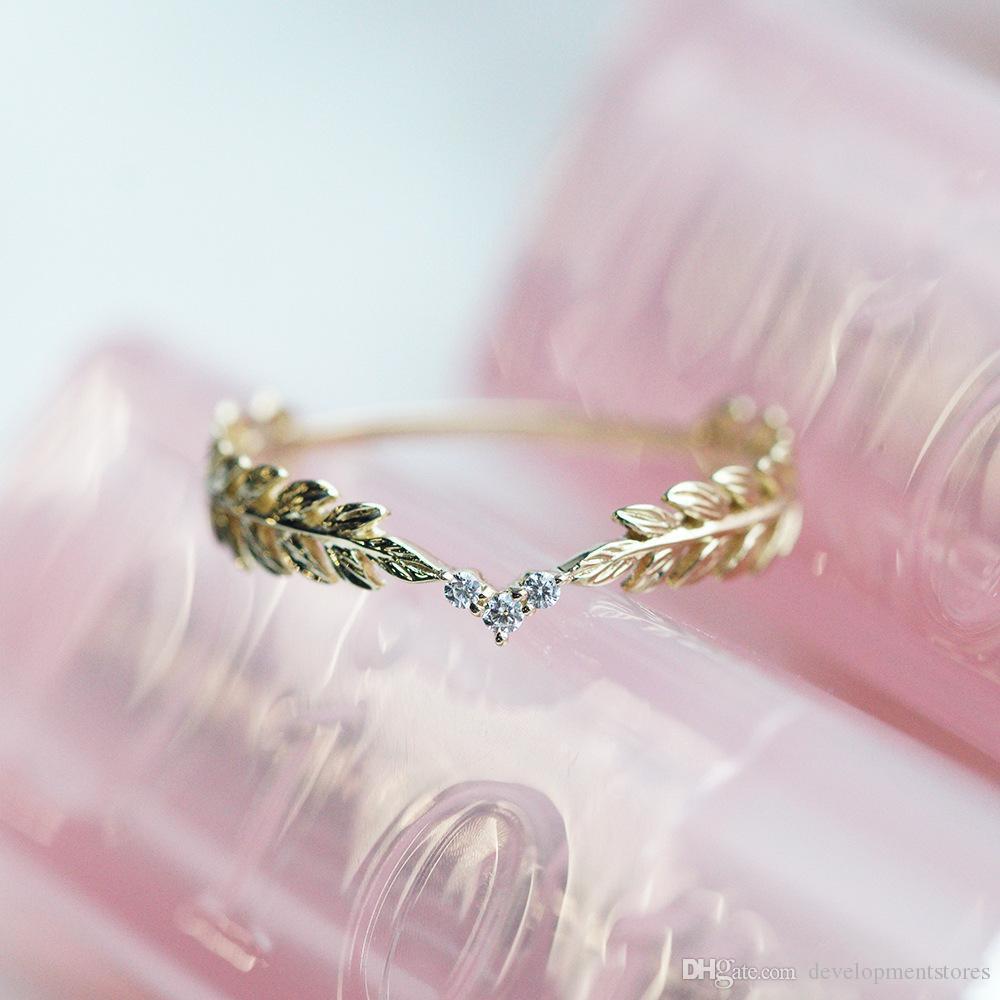Anello di diamante in oro 14 carati nuovo caldo placcato piccolo anello di grano dorato stile fresco donna gioielli moda anello nuziale