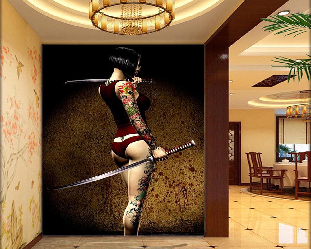3D خلفيات المحارب موشوم السامرائي غرفة المعيشة غرفة نوم خلفية الجدار الديكور خلفية جدارية