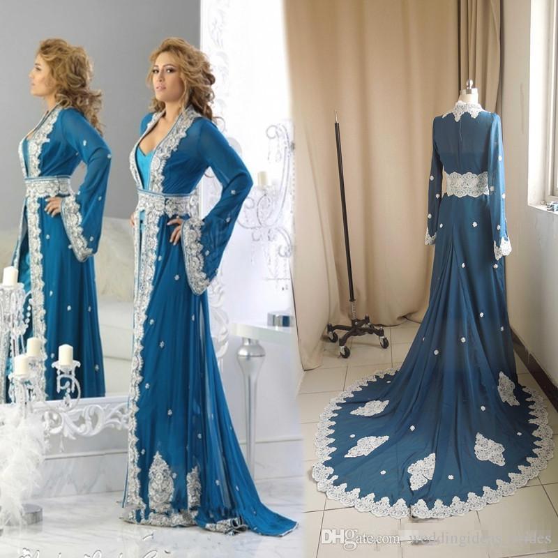 Gerçek Görüntü Arapça Kaftanlar Akşam Elbise 2019 Vestidos De Gala Largos Mavi Şifon Uzun Kollu Akşam Gelinlik Modelleri Özel Durum Giyer
