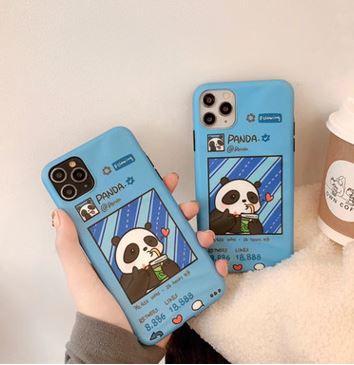 Cartoon Cute Blue Panda Phone Case For iPhone X XS XSMax XR 7 8 etc Cover TPU Apple Phone Case-TY3006