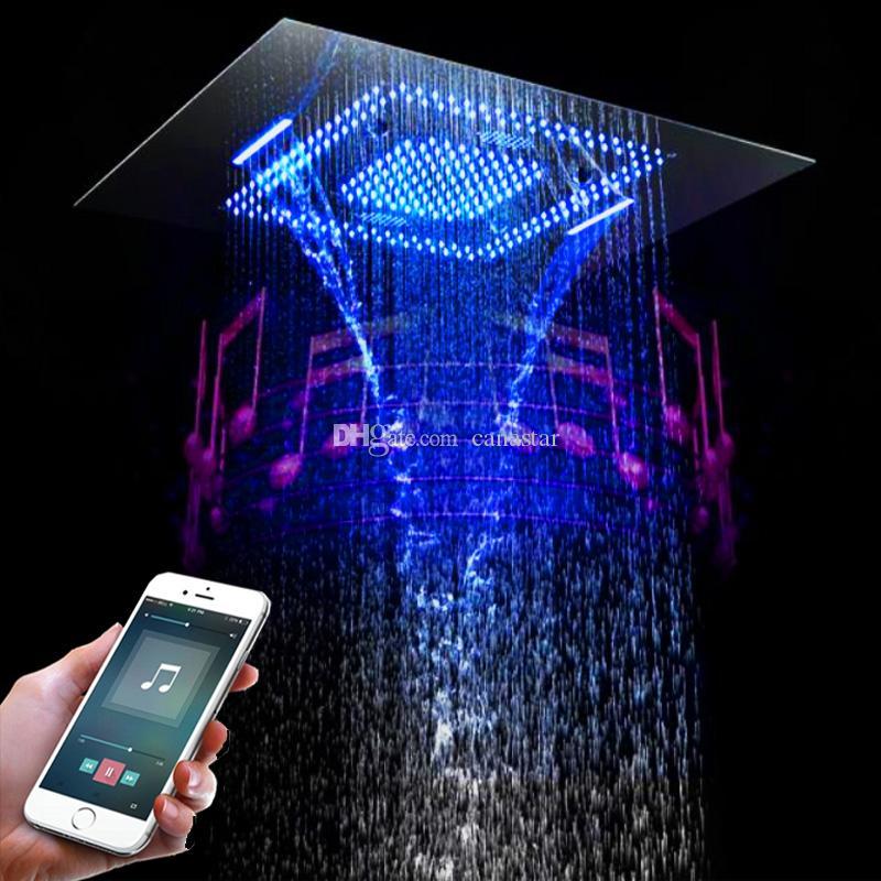 욕실 3 자 물 흐름 LED 샤워 헤드 중단 된 천장 SUS304 샤워기 60x80CM 큰 크기 블루투스 음악 강우 폭포 미스트 샤워