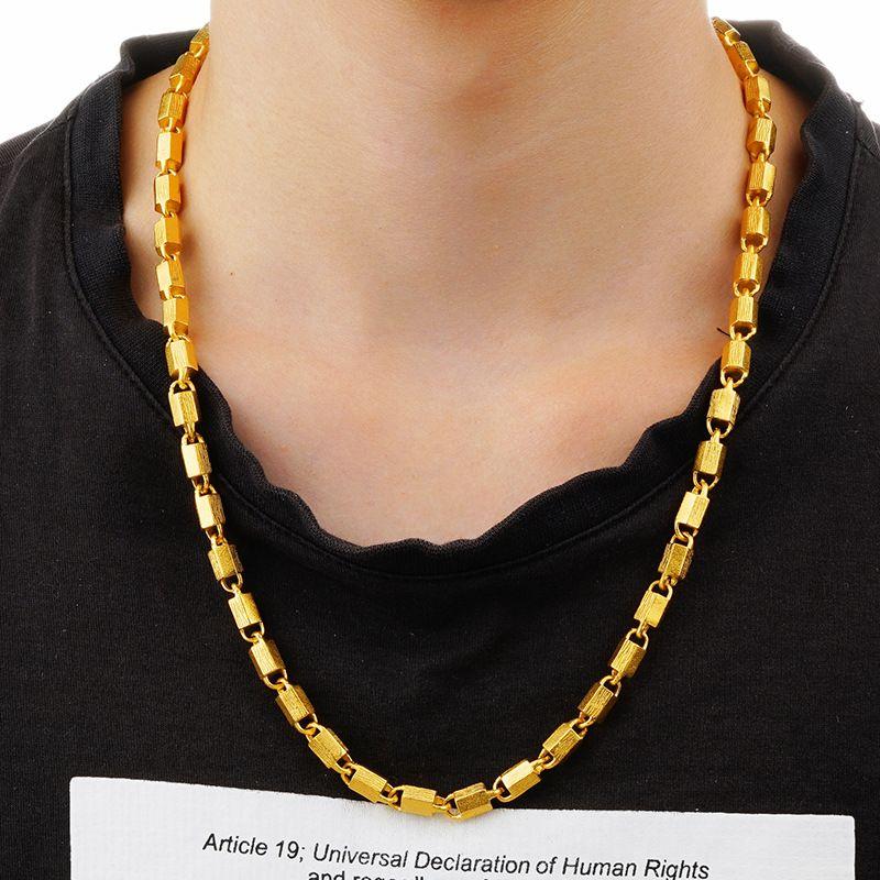 2019 Art und Weise Europa und Amerika festen Halskette Männer Großhandel Gold hexagonal Dubai 24K Goldkette für Männer Frauen Schmuck