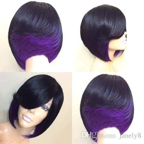 Parrucche diritte per capelli corti Bob di colore misto di alta qualità con parrucche sintetiche resistenti al calore a due tonalità nero verde rosso viola