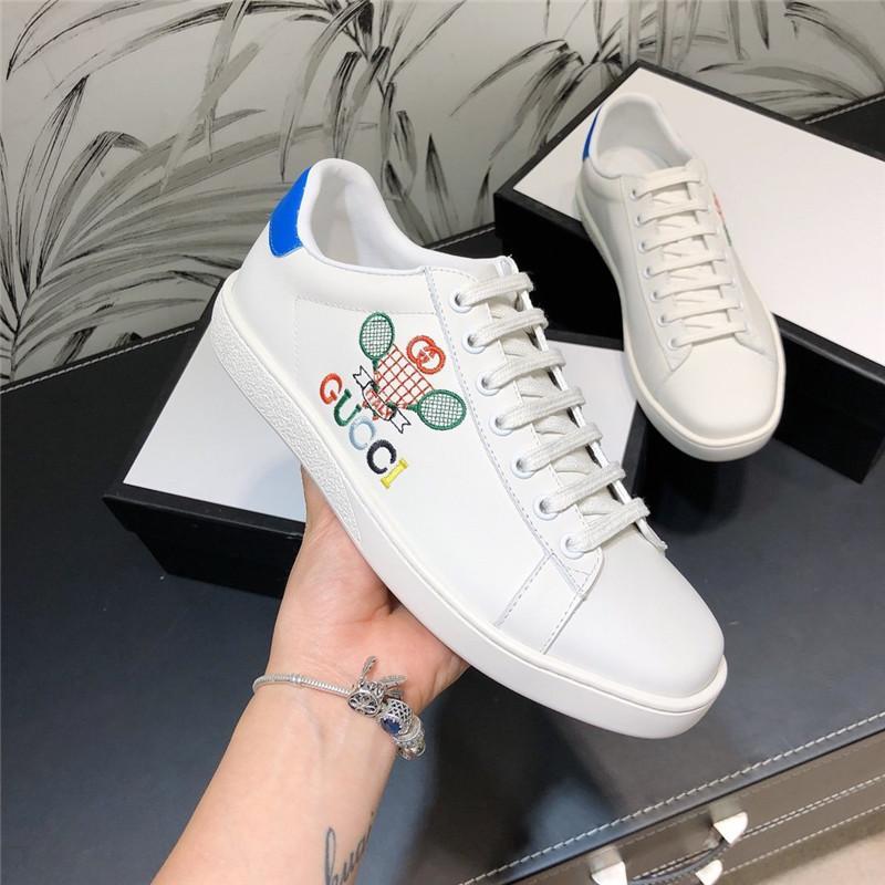Novos homens do estilo de tênis calçados casuais Mulheres Sneakers Moda respirável couro genuíno sapatos de plataforma Branco Mulheres com tamanho da caixa 35-46