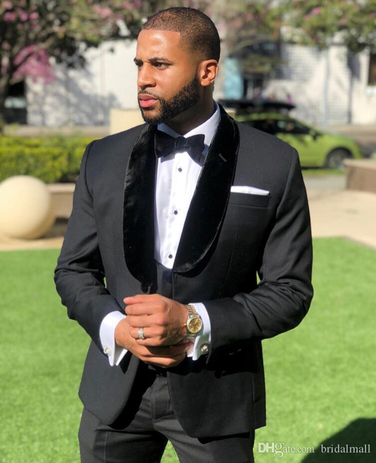 2020 nero Mens One Button Wedding smoking per lo sposo 3 collega gli insiemi di Suits Groomsmen Best Man vestito degli uomini Sposo Blazer (Jacket + Pants + vest)