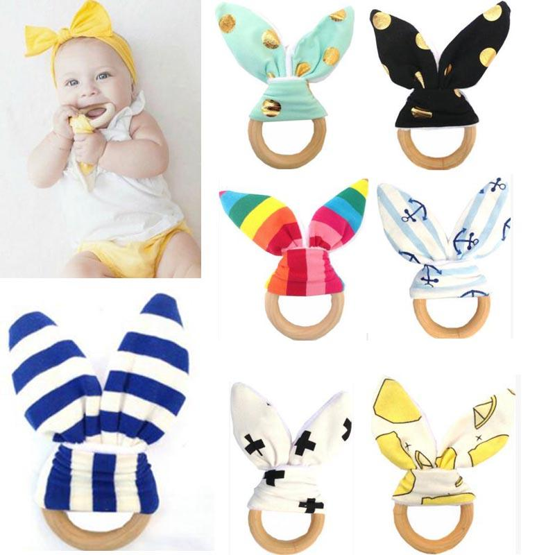 Baby Infant Wooden Teether Toy Healthy Wood Circle With Rabbit Ear Fabric Teeth Practice Toys Training Ring