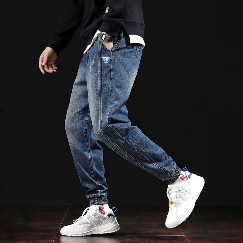 힙합 청바지 남성 스트리트 하렘 바지 청바지 케이팝 조깅 한국형 바지 남성 패션 데님 대형 의류