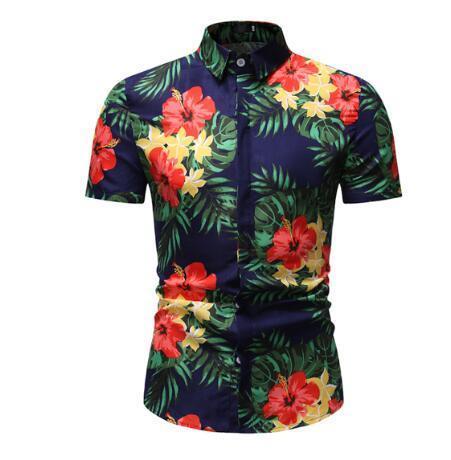 estate 2020 nuova sezione sottile stampato casuali della spiaggia di vento nazionale a maniche corte uomini della camicia della rappezzatura uomini casuali plaid camicia di marca T200531