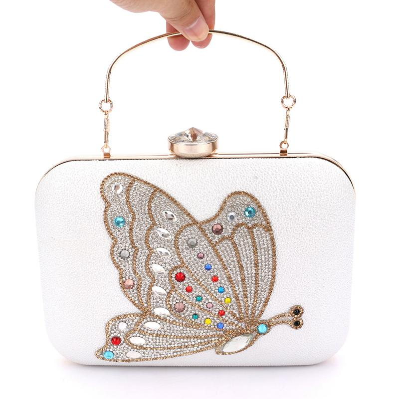 Handmade Butterfly Rhinestone Box Clutch Elegant Colorful Diamond Wedding Purse Crystal Evening Bags Handbag with Handle - A2500
