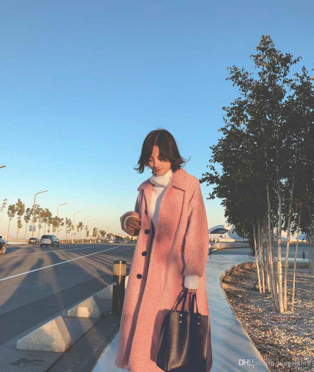 2019 Winter neuer Nerz-wie Wollmantel Frauen halbe Länge Hepburn-Stil Wollmantel kleine Menschen beliebt sind