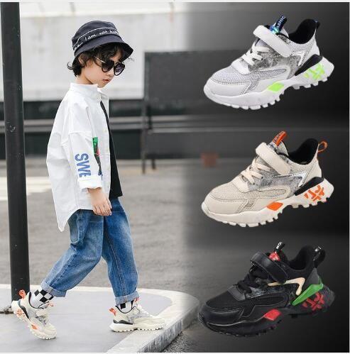 Primavera sapatos esportivos dos meninos e médio outono das crianças brancas e malha respirável sapatos casuais crianças grandes