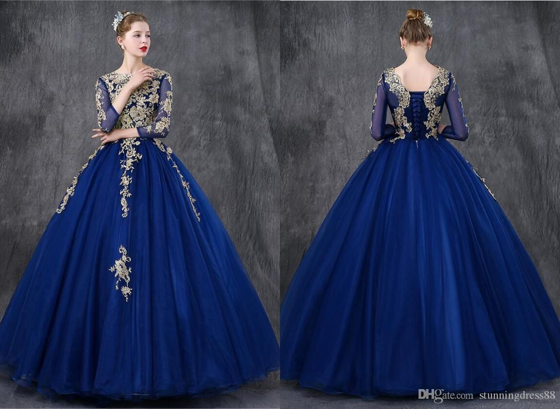 Sexy Royal Blue Gold Lace Quinceanera Prom dresses Ball Gown Sheer Neck Long Sleeves Corset Back Tulle Sweet 16 Vestidos De Dress