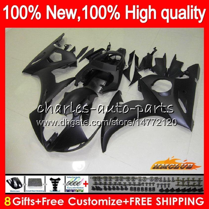 Kropps kit för Yamaha Matte Black Yzf600 YZF 600 R 6 600cc YZF R6 03-05 59HC.10 YZF-R6 YZF-600 YZFR6 03 04 05 2003 2004 2005 Fairing + 8Gifts