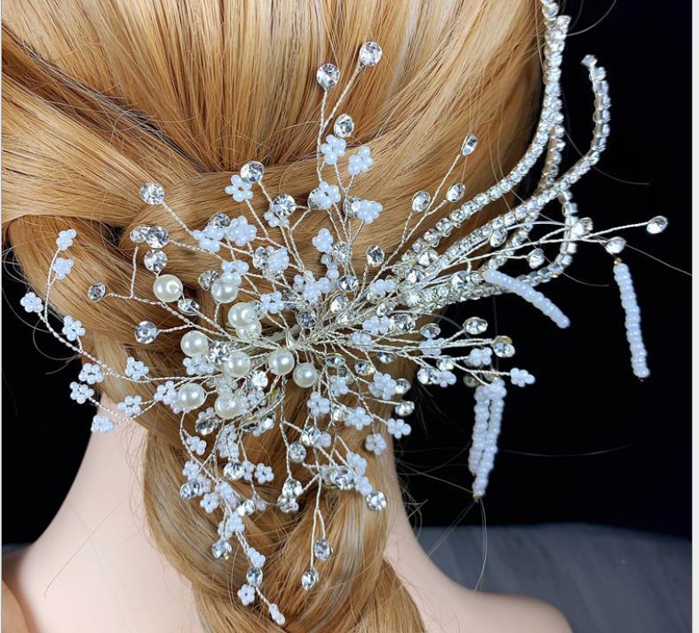 Kakma gelin düğün saç aksesuarları inci yan klip düğün düğün stil aksesuarları dekore bit