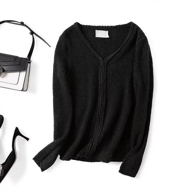 Женщины свитер 2019 осень / зима Новый Четыре цвета V-образным вырезом мохер пуловер свитер