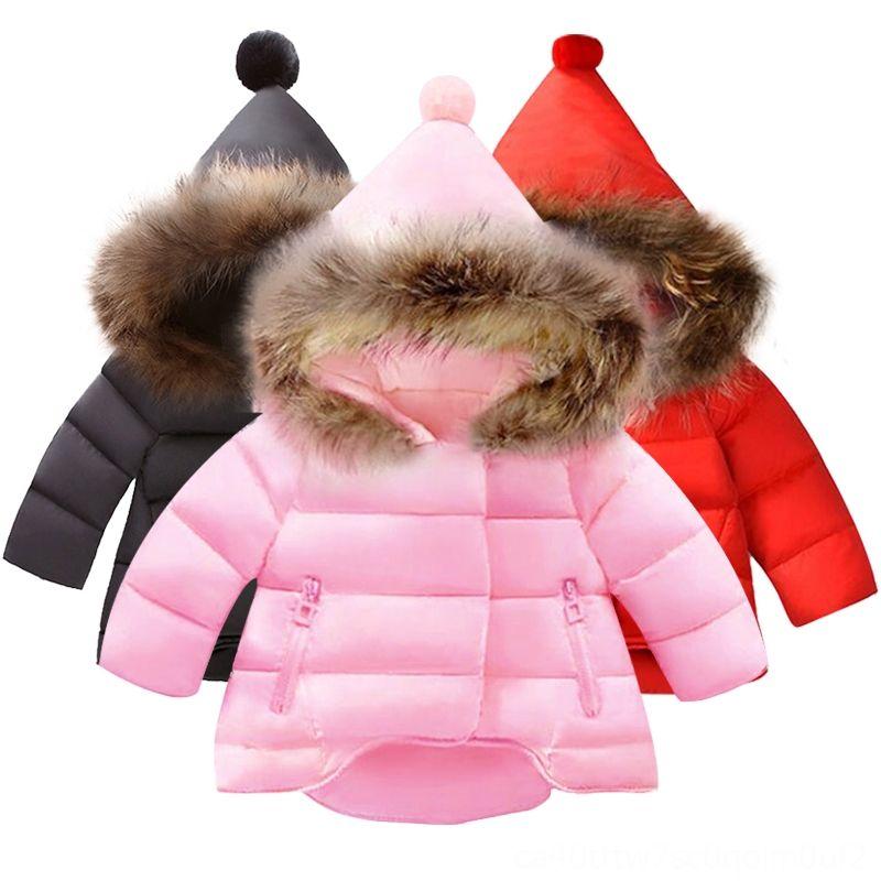 New Winter Jacket Fur Winter Thick Warm Hooded Children Outerwear Girls Coat Cotton Dot Girls Clothes Kids Outwear Baby & Kids Clothing Clot
