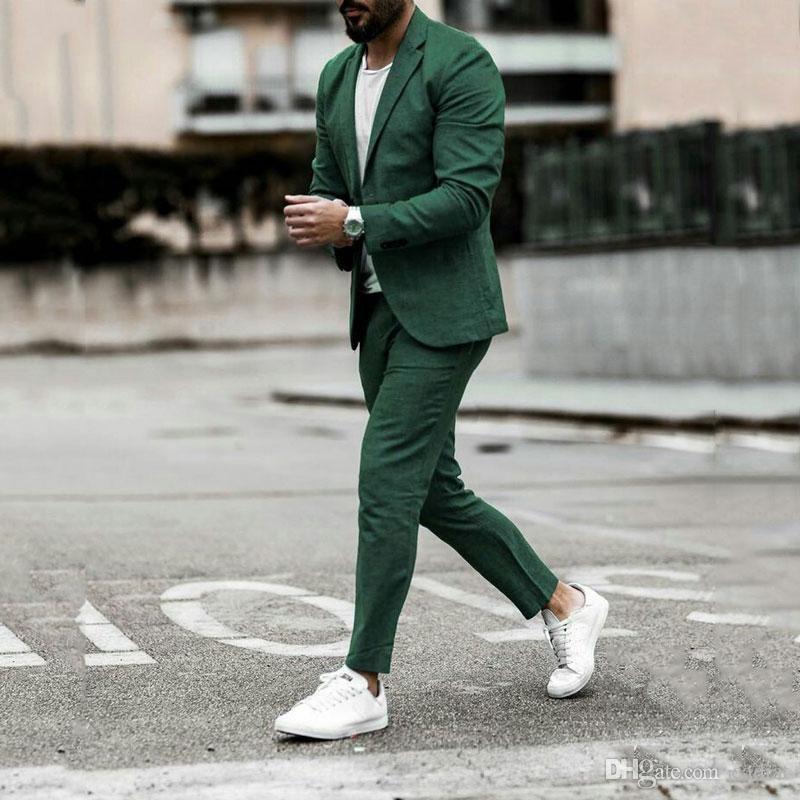Les costumes vert lin pour homme d'affaires de mariage smokings marié Prom Party Costume Casual garçons d'honneur atours Homme 2piece (Pantalons Manteau) Terno Masculino