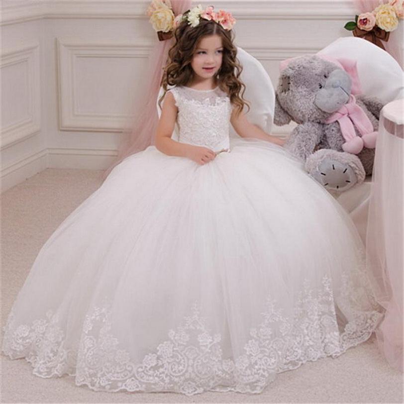 Bianco sveglio Flower Girl Dress bambini spettacolo di compleanno partito convenzionale pizzo lungo vestito da Bowknot Prima Comunione Dress Prom Gown