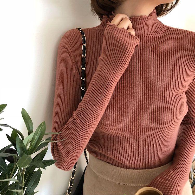 IZTgK 2020 Primavera e Outono Nova magro interno sólido ajuste camisa meio camisola de gola lado da orelha de madeira cor de base de manga comprida camisola das mulheres