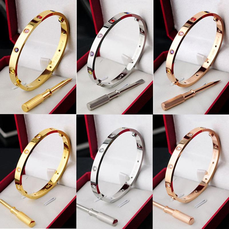 로즈 골드 러브 나사 팔찌 은색 티타늄 클래식 디자인 크로스 팔찌 팔찌와 드라이버 연인 팔찌 팔찌 골드