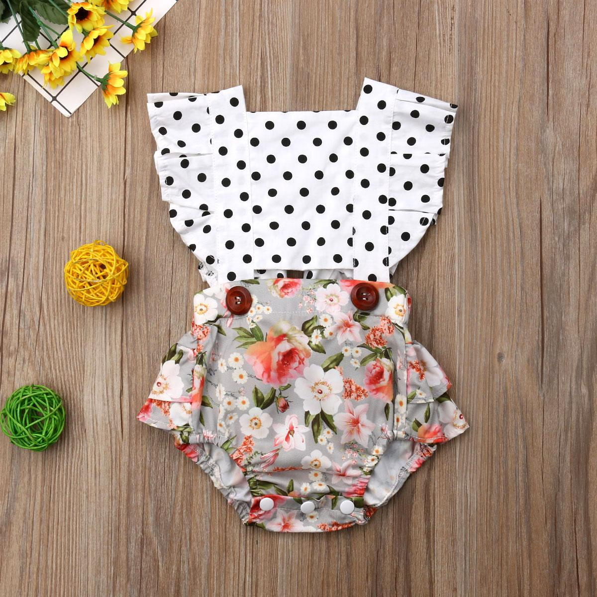 Pudcoco 2019 neugeborene Kind-Baby-Kleidung Spitze Splice Body Backless Overall Outfit sunsuit Babykleidung Hot Sell
