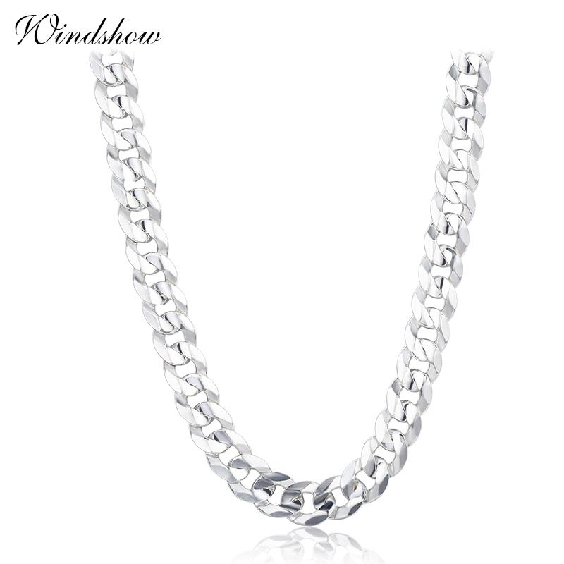 925 Sterling Silver Flate Curb Chain Necklaces Women Men Jewelry Collares Kolye Collier Hiphop 50cm 55cm 60cm 4mm 5.5mm Ketting J190526