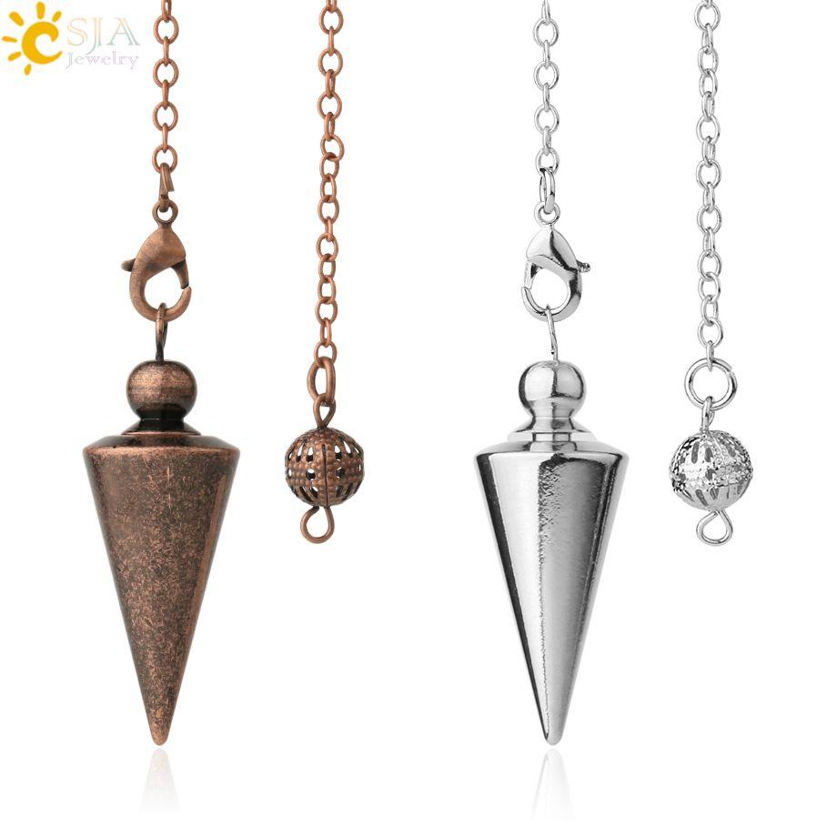 Csja cone de metal Pendulum Para Wicca Antique Copper Gold-cor Espiritual Pendulo Radiestesia Cura Pendule Hot Sale Jóias G336