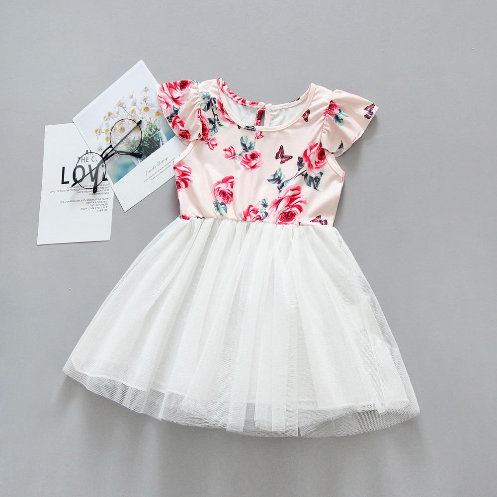 Retail girls dress baby girl flower print flutter sleeve lace mesh tutu dresses kids princess skirts children boutique designer clothing