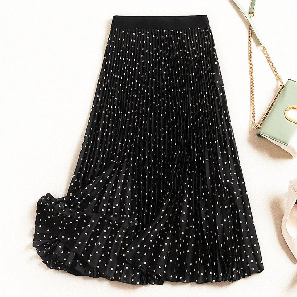 Cintura alta plissada saias pretas Verão Polka Dots elástica saia de Midi New Casual Harajuku A linha 2020 da Mulher Saias # T1G