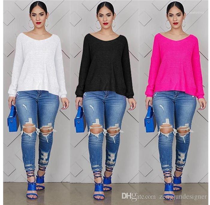 Stile sexy di colore femminile Abbigliamento manica lunga girocollo casual Abbigliamento Donna Autunno Designer magliette Backless Solid