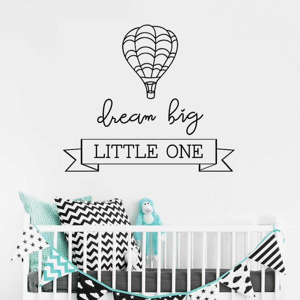 Dream Big Little One Hot Air Balloon Stickers muraux amovibles pour Nursery Enfants Enfants Chambre Vinyle Autocollants Salon