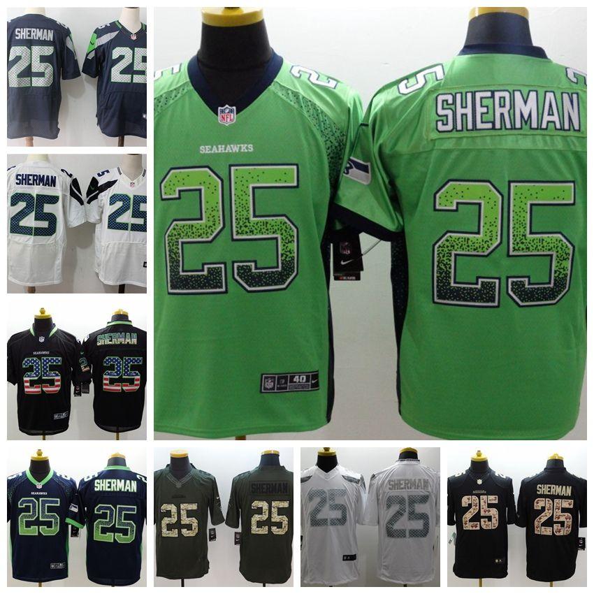 online store b6acd f3cbb New Mens 25 Richard Sherman Jerseys Seattle Seahawks Football Jersey 100%  Stitched Embroidery Richard Sherman Color Rush Football Shirts Graphic Tees  ...