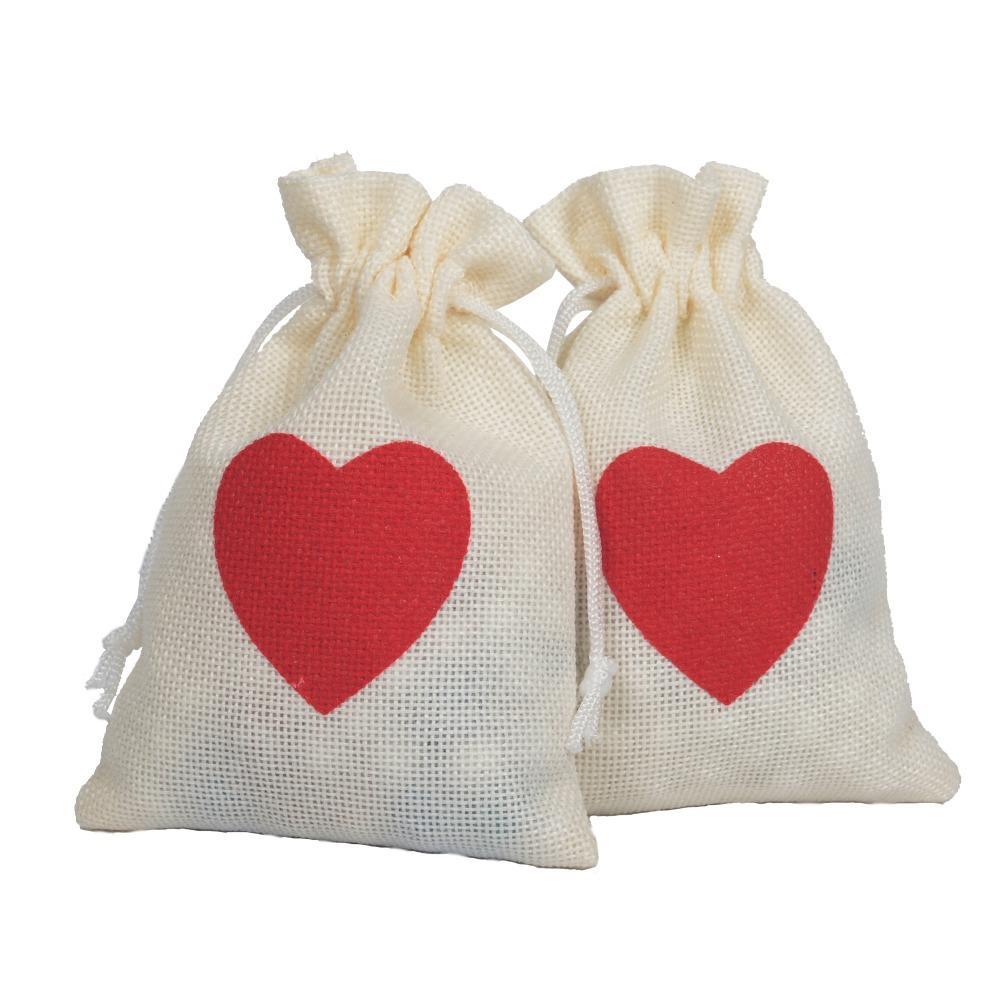 Burlap завязки белья кулиска хранение Ткань Сумка Red Love льняной мешок подарок Pouch10 * 15см Упаковка из 50 партии подарочной упаковки Мешочка