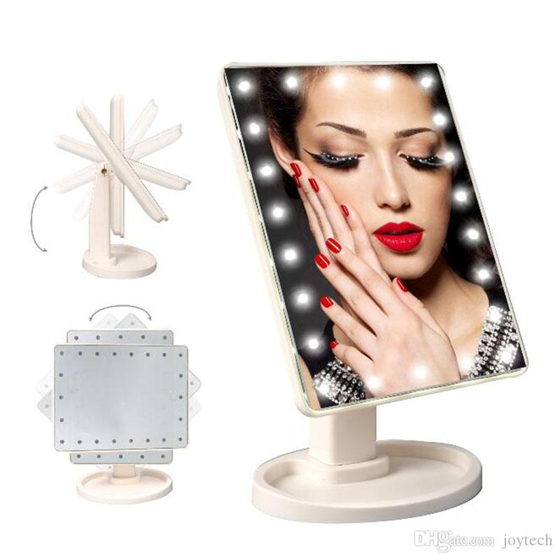 الصمام شاشة تعمل باللمس ماكياج مرآة المهنية مرآة الغرور مع 16/22 أضواء الصمام الصحة الجمال قابل للتعديل كونترتوب 360 الدورية