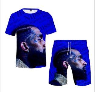 Yeni Tasarım Nipsey Hussle T Gömlek Erkekler Şort Setleri O-Boyun Kısa Kollu Erkek Giysileri Moda Yaz Plaj Şort Eşofman