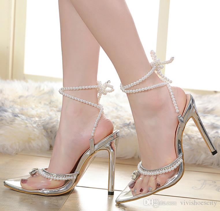 seksi yüksek topuklu ayakkabılar gümüş inci PVC şeffaf ayak bileği wrap moda kadın 42 ayakkabı boyutu 35 elbise pompalar geline