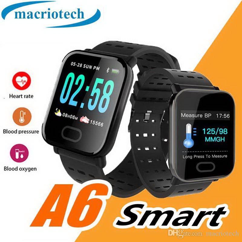 Reloj inteligente de pulsera para hombre A6 Pantalla táctil Reloj inteligente resistente al agua Teléfono con monitor de pulsera inteligente de frecuencia cardíaca Reloj de pulsera deportivo para correr