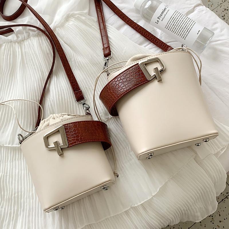 Elegant Female Stone Handbag Lock PU Bag Shoulder 2019 Bucket New Women's Pattern Quality Leather Messenger Tote Xvkqr