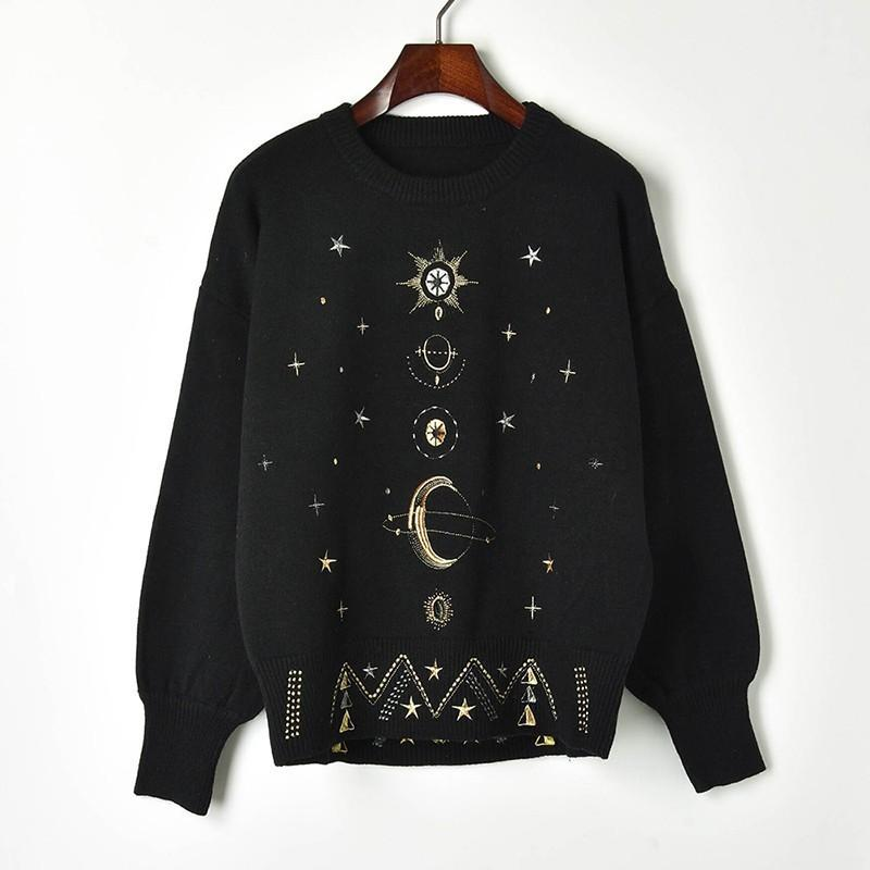 2019 New Spring Winter Embroidered Stars Sky Loose Knitted Sweater Women Pullover O-neck Sweaters Black Jc2715