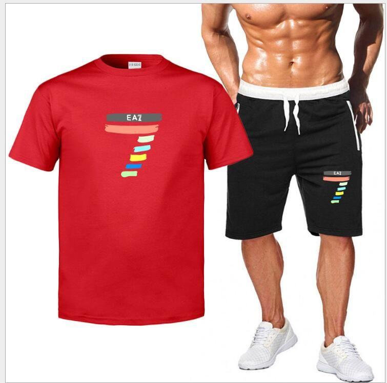Neue Männer-T-Shirt gesetzt Breath beiläufige Strand-Set-Sweatshirt-T-Shirt Sets Quick Dry-shirts + Shorts Sportanzug