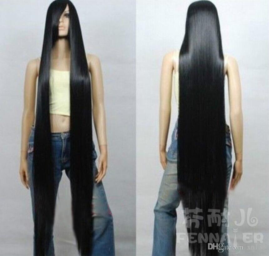 Europäisches Schönheits-COS-Haarschwarzes langes, gerades Haar, 150 cm, schräg ein Perücke von einem Meter fünf