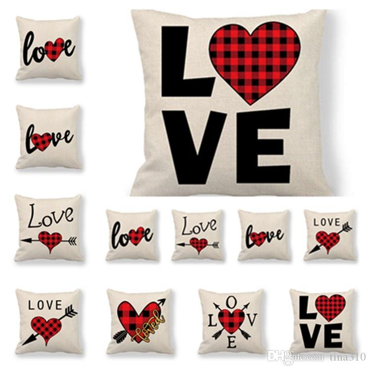 fashion 12 style Valentine's Day pillowcase office cushion cover coffee shop pillow cover decoration Valentine's Day Home TextilesT2I5749